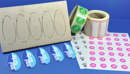 Stickers on rolls, on sheets and singles