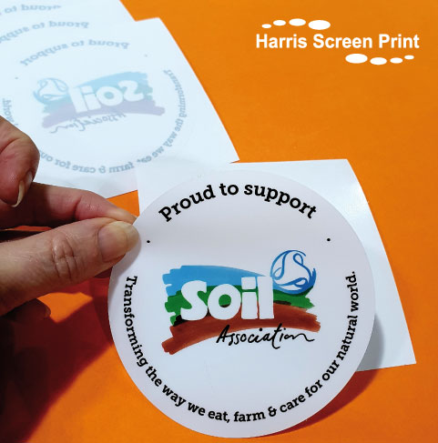 Soil Association window stickers printed full colour