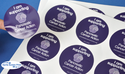 Fundraising Charity Stickers printed for Pancreatic Cancer Action Charity