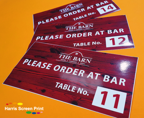 Waterproof Table Stickers printed for UK Pub Restaurant