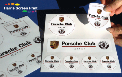 Waterproof outdoor sticker sheets printed for Porsche dealership