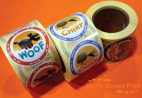 Glossy Stickers printed on rolls