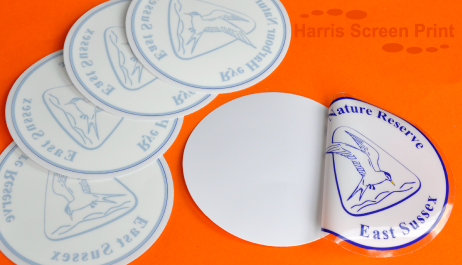 Round car stickers printed for rye harbour nature reserve
