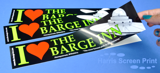 Bright bumper stickers printed for the Barge Inn pub